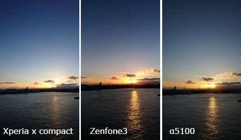 海の夕日 撮り比べ