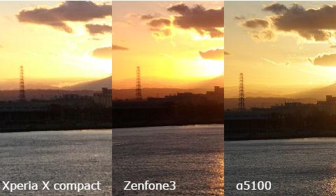 海の夕日 撮り比べ(拡大)